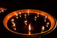 Yak butter lamps, Spituk Monastery, Leh, Ladakh, Jammu and Kashmir State, India.