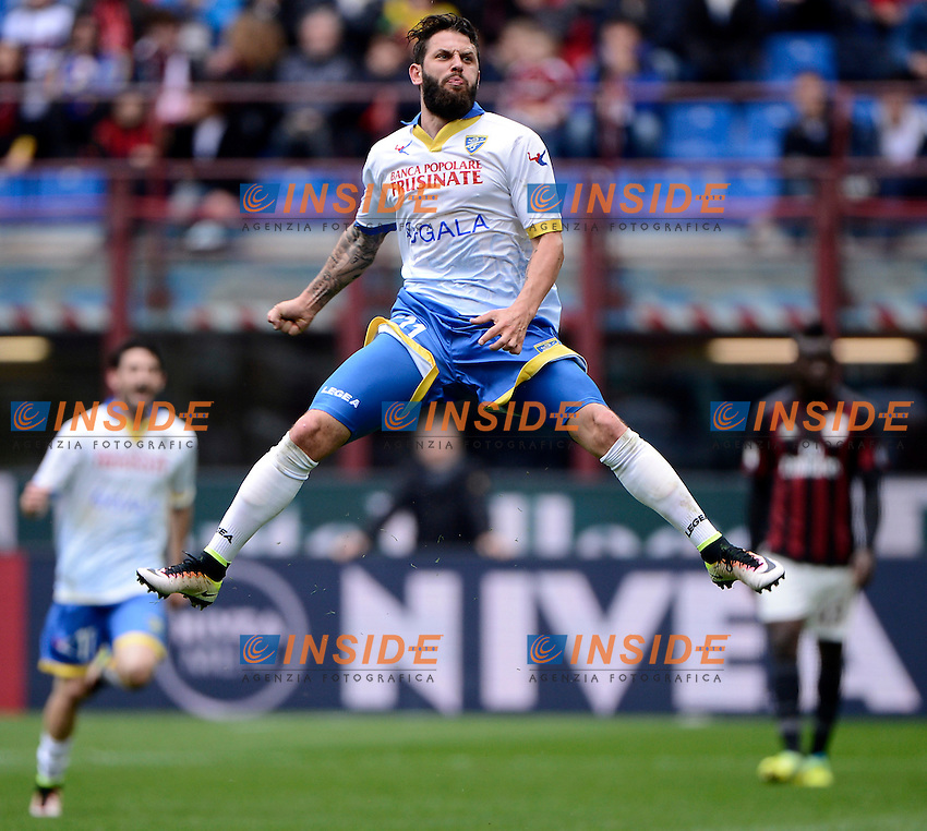 Esultanza Oliver Kragl Frosinone<br /> Milano 01-05-2016 Stadio Giuseppe Meazza - Football Calcio Serie A Milan - Frosinone. Foto Giuseppe Celeste / Insidefoto