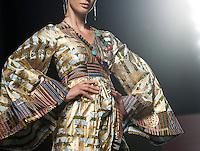Una modella presenta una creazione di KIKI Clothing durante la rassegna ITC's Ethical Fashion Initiative con Altaroma a Roma, 7 Luglio 2013..<br /> A model wears a creation of KIKI Clothing during the ITC's Ethical Fashion Initiative and  Altaroma in Rome, 7 July 2013.<br /> UPDATE IMAGES PRESS/Virginia Farneti