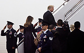 United States President Donald J. Trump and First Lady Melania Trump walk to Air Force one before departing from Joint Base Andrews, Maryland on September 11, 2018. The President and First Lady attend the Flight 93 September 11 Memorial Service in Shanksville, PA. <br /> Credit: Olivier Douliery / Pool via CNP