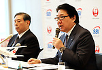"""October 3, 2017, Tokyo, Japan - Japan Airlines (JAL) president Yoshiharu Ueki (R) and SBI Holdings president Yoshitaka Kitao announce to form a joint venture """"JAL SBI Fintech"""" at JAL headquarters in Tokyo on Tuesday, October 3, 2017.  JAL SBI Fintech will launch the business of multi-currency prrpaid card next year.   (Photo by Yoshio Tsunoda/AFLO) LWX -ytd-"""