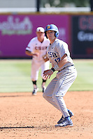 Cameron Newell (12) of the UC Santa Barbara Gouchos runs the bases during a game against the Cal State Northridge Matadors at Matador Field on April 10, 2015 in Northridge, California. UC Santa Barbara defeated Cal State Northridge, 7-4. (Larry Goren/Four Seam Images)
