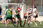 Santa Barbara, CA 02/13/10 - Sarah Liewellyn (Texas #3), Laura Spanko (Oregon #4) and Bri Wright (Oregon #17) in action during the Texas-Oregon game at the 2010 Santa Barbara Shoutout, Texas defeated Oregon 11-9.