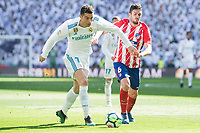 Real Madrid Cristiano Ronaldo and Atletico de Madrid Koke Resurreccion during La Liga match between Real Madrid and Atletico de Madrid at Santiago Bernabeu Stadium in Madrid, Spain. April 08, 2018. (ALTERPHOTOS/Borja B.Hojas) /NortePhoto NORTEPHOTOMEXICO