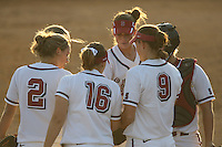 25 October 2007: Stanford Cardinal Maddy Coon (2), Shannon Koplitz (second from left), Michelle Smith (16), Melisa Koutz (facing), Missy Penna (9), and Rosey Neill (far right) during Stanford's 5-4 loss in seven innings against the San Jose State Spartans at Boyd & Jill Smith Family Stadium in Stanford, CA.