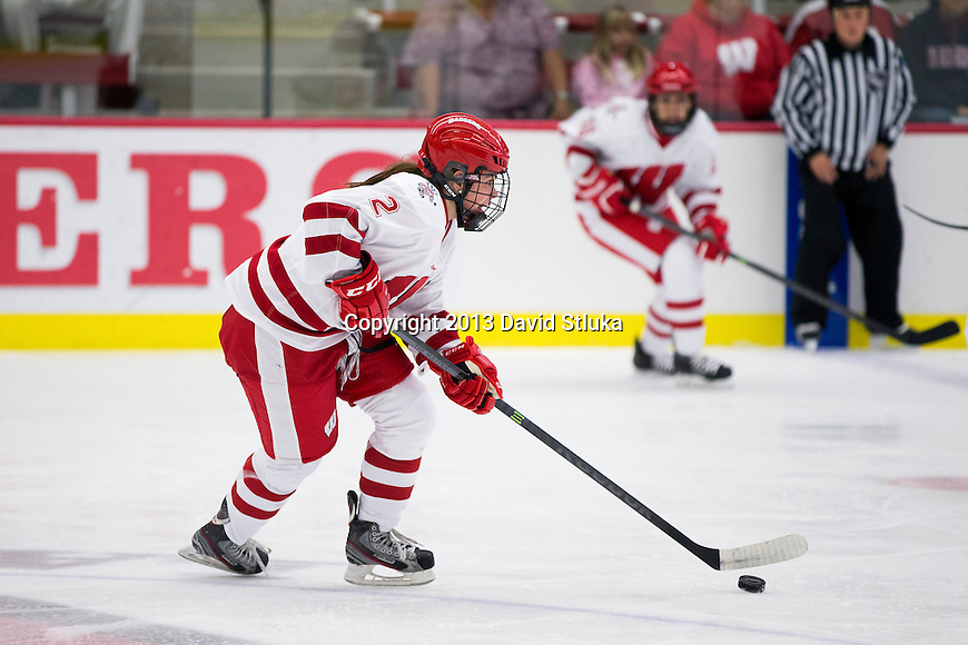 Wisconsin Badgers Mellissa Channell (2) handles the puck against Team Japan during a women's hockey exhibition in Madison, Wisconsin, on September 23, 2013. The Badgers won 3-0. (Photo by David Stluka)