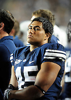 Sept. 19, 2009; Provo, UT, USA; BYU Cougars running back Harvey Unga reacts on the sidelines in the closing minutes of the game against the Florida State Seminoles at LaVell Edwards Stadium. Florida State defeated BYU 54-28. Mandatory Credit: Mark J. Rebilas-