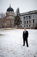 Montana State Representatives Derek Skees and Krayton Kerns pose for portraits in and around the Montana Capitol Building.  Both legislators have made waves in recent months for introducing legislation to nullify federal laws.  Kerns, a third-term Republican, recently proposed to nullify the federal Endangered Species Act to in order to allow Montana to manage populations of controversial, endangered wolf packs.  Skees, a GOP Tea Party candidate, introduced legislation to institute a panel to examine the nullification of federal laws.