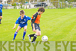 No 6 The Park,. Gearoid Dillane in action against Blake Blester No 7 Killarney Athletic at Christy Leahy Park in the Under 14 1st Regional National Cup, on Saturday.