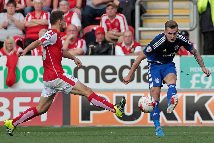 Cardiff City's Joe Ralls clears despite the attentions of Rotherham United's Anthony Andreu<br /> <br /> Photographer David Shipman/CameraSport<br /> <br /> Football - The Football League Sky Bet Championship - Rotherham United v Cardiff City - Saturday 19th September 2015 - AESSEAL New York Stadium - Rotherham<br /> <br /> &copy; CameraSport - 43 Linden Ave. Countesthorpe. Leicester. England. LE8 5PG - Tel: +44 (0) 116 277 4147 - admin@camerasport.com - www.camerasport.com