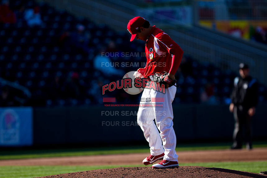 Richard Castillo (27) of the Springfield Cardinals on the mound during a game against the Frisco RoughRiders on April 16, 2011 at Hammons Field in Springfield, Missouri.  Photo By David Welker/Four Seam Images