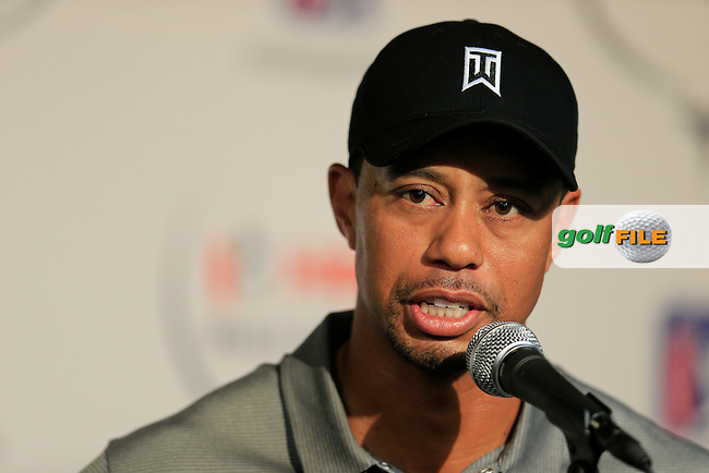 Tiger Woods (USA) speaking after round 2 of the Hero World Challenge, Isleworth Golf &amp; Country Club, Windermere, Orlando Florida, USA. 05/12/2014<br /> Picture Fran Caffrey, www.golffile.ie