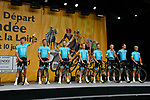 Astana Pro Team on stage at the Team Presentations for the 105th Tour de France 2018 held on Napoleon Square in La Roche-sur-Yon, France. 5th July 2018. <br /> Picture: ASO/Bruno Bade | Cyclefile<br /> All photos usage must carry mandatory copyright credit (&copy; Cyclefile | ASO/Bruno Bade)