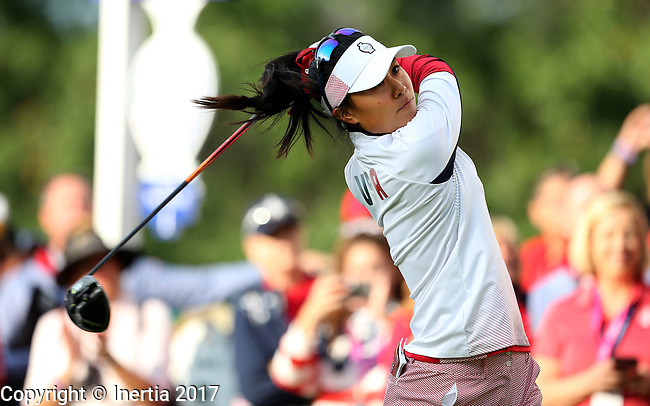 DES MOINES, IA - AUGUST 18: USA's Danielle Kang watches her tee shot on the first hole Friday morning at the 2017 Solheim Cup in Des Moines, IA. (Photo by Dave Eggen/Inertia)