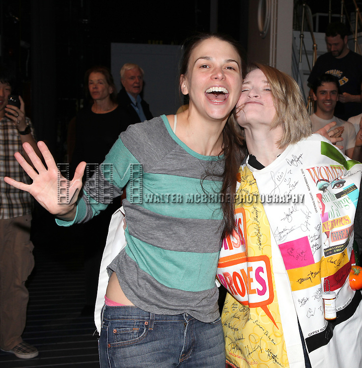 Sutton Foster & Joyce Chittick .attending the Opening Night Performance Gypsy Robe Ceremony for Recipient Joyce Chittick for The Roundabout Theatre Company's Broadway Production of 'Anything Goes'  in New York City.