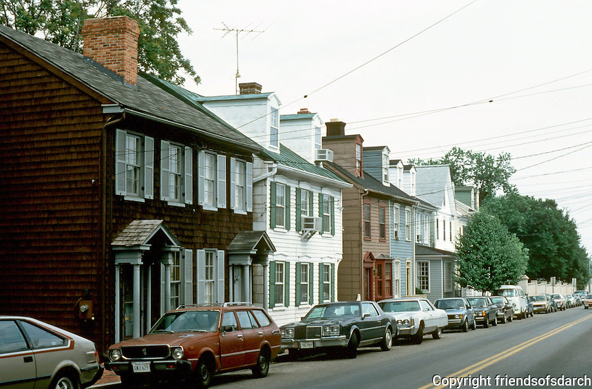 Annapolis:  18th Century Clapboard Row Houses--King George St.  Photo '85.