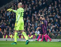 Lionel Messi of Barcelona celebrates his goal Goalkeeper Wilfredo Caballero of Manchester City looks on during the UEFA Champions League match between Manchester City and Barcelona at the Etihad Stadium, Manchester, England on 1 November 2016. Photo by Andy Rowland / PRiME Media Images.