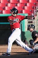 High Desert Mavericks third baseman Steven Proscia #11 bats against the Bakersfield Blaze at Mavericks Stadium on July 17, 2011 in Adelanto,California. Bakersfield defeated High Desert 11-10.(Larry Goren/Four Seam Images)