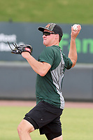 Logan Davidson of the Oakland Athletics works an infield drill with other Major League and Minor League players from around the region on Friday, June 5, 2020, at Fluor Field at the West End in Greenville, South Carolina, as team workouts remain shut down. Davidson was drafted out of Clemson. (Tom Priddy/Four Seam Images)