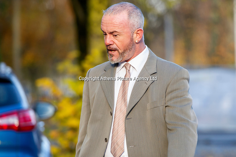 Pictured: Haydn Morgan arrives at Cardiff Crown Court. Monday 12 November 2018<br /> Re: Three men involved in an incident in Cardiff are on trial at Cardiff Crown Court.<br /> Earlier this year, criminal charges were dropped against former Wales rugby international Shane Williams.<br /> The former Ospreys winger had been charged with affray following an alleged incident in Cardiff city centre.<br /> A charge of affray has also been dropped against Shane Williams' brother, Dean Williams.<br /> Four other men, Haydn Morgan, 42, of Bridgend, Dean Flowers, 32, of Cardiff, Aled James, 26, of Ferndale and Dave Wing, 53, of Cardiff are charged with affray following the alleged incident on Great Western Lane on December 2, 2017.