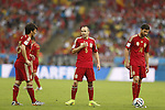 (L-R) David Silva, Andres Iniesta, Xabi Alonso (ESP), JUNE 18, 2014 - Football / Soccer : FIFA World Cup Brazil<br /> match between Spain and Chile at the Maracana Stadium in Rio de Janeiro, Brazil. (Photo by AFLO)