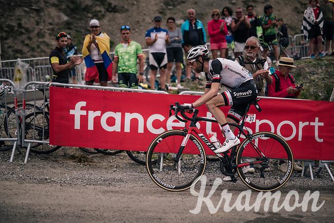 Laurens ten Dam (NED/Sunweb) up the brutal Col du Portet (HC/2250m/16km at 8.7%/Souvenir Henri Desgrange) in this historically short stage (only 65km)<br /> <br /> Stage 17: Bagnères-de-Luchon > Saint-Lary-Soulan (65km)<br /> <br /> 105th Tour de France 2018<br /> ©kramon