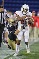 Annapolis, MD - October 8, 2016: Houston Cougars wide receiver Chance Allen (21) gets tackled by a Navy Midshipmen defender during game between Houston and Navy at  Navy-Marine Corps Memorial Stadium in Annapolis, MD.   (Photo by Elliott Brown/Media Images International)