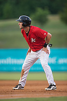 Hunter Jones (9) of the Kannapolis Intimidators takes his lead off of first base against the Lakewood BlueClaws at CMC-Northeast Stadium on May 16, 2015 in Kannapolis, North Carolina.  The BlueClaws defeated the Intimidators 9-7.  (Brian Westerholt/Four Seam Images)
