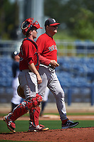 GCL Red Sox pitching coach Dick Such (49) walks to the mound with catcher Andrew Noviello (59) for a visit during the first game of a doubleheader against the GCL Rays on August 4, 2015 at Charlotte Sports Park in Port Charlotte, Florida.  GCL Red Sox defeated the GCL Rays 10-2.  (Mike Janes/Four Seam Images)