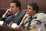 Nevada Assembly Democrats John Oceguera, left, and Marcus Conklin listen in committee at the Legislature on Wednesday, May 18, 2011, in Carson City, Nev..Photo by Cathleen Allison
