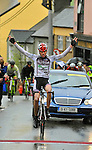 9-4-2012: Dennis Baaker of team Ruiter Dakkapellen Wielerteam wins the Ras Mumhan in dramatic fashion in Killorglin County Kerry on Easter Monday. .Picture by Don MacMonagle