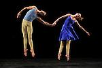 DUETS....Choregraphie : CUNNINGHAM Merce..Mise en scene : CUNNINGHAM Merce..Compositeur : CAGE John..Decor : LANCASTER Mark..Lumiere : LANCASTER Mark SHALLENBERG Christine..Avec :..NELSON Krista..RIENER Silas..Lieu : Theatre de la Ville..Ville : Paris..Le : 20 12 2011 &copy; Laurent Paillier / photosdedanse.com<br /> All rights reserved