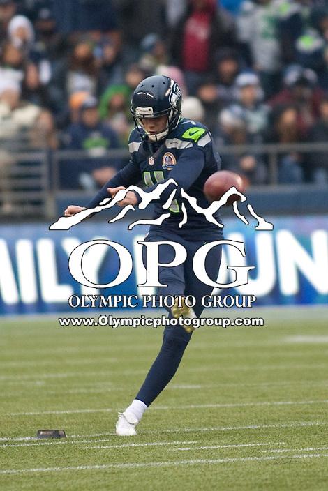 DEC 09, 2012:  Seattle's Steven Hauschka against Arizona.  Seattle defeated Arizona 58-0 at CenturyLink Field in Seattle, WA...