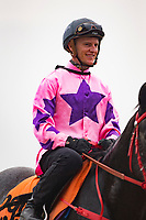 SHA TIN,HONG KONG-MAY 05: Zac Parton,came from Australia,based on Hong Kong, is going to Barrier Trial  at Sha Tin Racecourse on May 5,2017 in Sha Tin,New Territories,Hong Kong (Photo by Kaz Ishida/Eclipse Sportswire/Getty Images)