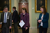 United States Senator Dianne Feinstein (Democrat of California) returns to the Senate Chamber following a dinner break in the impeachment trial of United States President Donald J. Trump at the United States Capitol in Washington D.C., U.S., on Monday, January 27, 2020.<br />  <br /> Credit: Stefani Reynolds / CNP