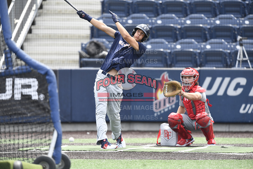 TEMPORARY UNEDITED FILE:  Image may appear lighter/darker than final edit - all images cropped to best fit print size.  <br /> <br /> Under Armour All-American Game presented by Baseball Factory on July 19, 2018 at Les Miller Field at Curtis Granderson Stadium in Chicago, Illinois.  (Mike Janes/Four Seam Images) Spencer Jones is a pitcher from La Costa Canyon High School in Encinitas, California committed to Vanderbilt.