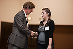 Steve Mead congratulates Lauren Titus, winner of the Associated Masonry Contractors of Houston Award at the 2011 Aldine Scholarship Foundation Scholarship Ceremony at Lone Star College - North Harris