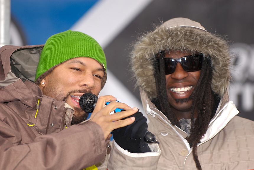 Grammy Award Winning Rapper Common and Othello at the 2007 ESPN Winter X Games 11 Snowboard Slopestyle Medal Ceremony