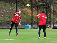 Tuesday 15 January 2013<br /> Pictured L-R: Goalkeepers Gerhard Tremmel and Michel Vorm <br /> Re: Swansea City FC training near the Liberty Stadium ahead of their Cup game against Arsenal at the Emirates Stadium.