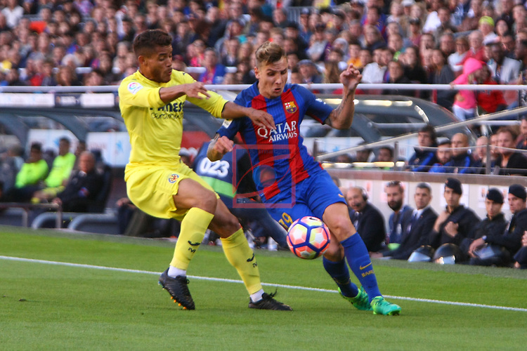 League Santander 2016/2017. Game: 36.<br /> FC Barcelona vs Villarreal CF: 4-1.<br /> Jonathan Dos Santos vs Lucas Digne.