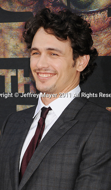"""HOLLYWOOD, CA - JULY 28: James Franco arrives at the """"Rise Of The Planet Of The Apes"""" Los Angeles Premiere at Grauman's Chinese on July 28, 2011 in Hollywood, California."""