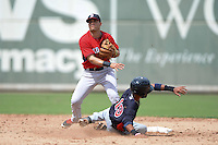 Boston Red Sox infielder Victor Acosta (13) turns a double play as Nelson Molina (19) slides in during an Instructional League game against the Minnesota Twins on September 26, 2014 at jetBlue Park at Fenway South in Fort Myers, Florida.  (Mike Janes/Four Seam Images)