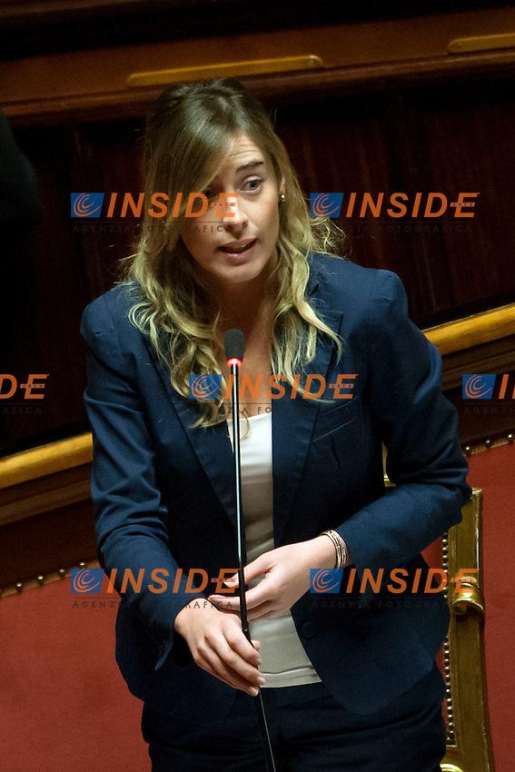 Maria Elena Boschi<br /> Roma 08-08-2014  Senato. Discussione sul DdL Riforme costituzionali che prevede anche la riforma del Senato. <br /> Photo Samantha Zucchi Insidefoto