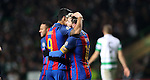 Luis Suárez congratulates Lionel Messi of Barcelona  after he scores a penalty during the Champions League match at Celtic Park, Glasgow. Picture Date: 23rd November 2016. Pic taken by Lynne Cameron/Sportimage