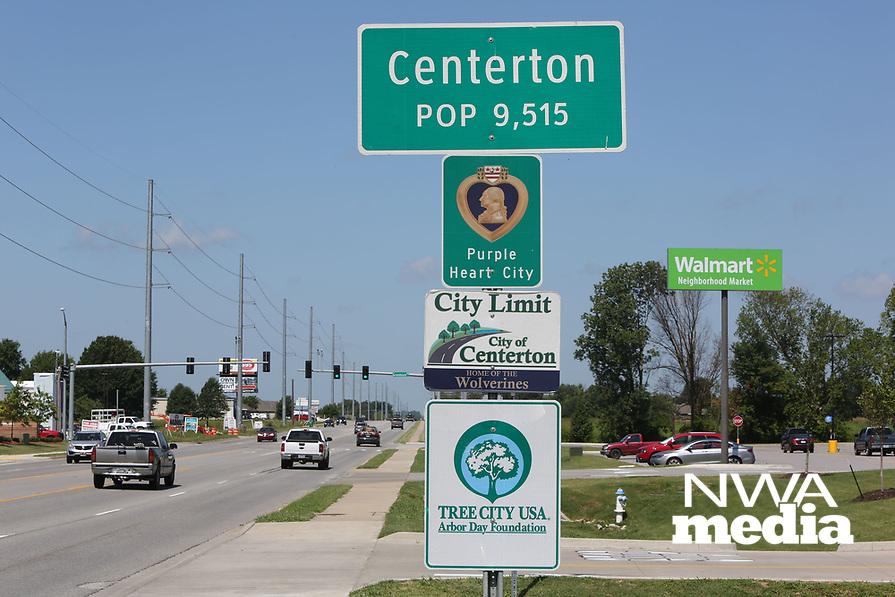 NWA Democrat-Gazette/DAVID GOTTSCHALK   city limit Centerton center ton city hall sign web net