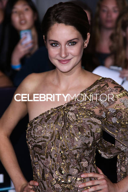 "WESTWOOD, LOS ANGELES, CA, USA - MARCH 18: Shailene Woodley at the World Premiere Of Summit Entertainment's ""Divergent"" held at the Regency Bruin Theatre on March 18, 2014 in Westwood, Los Angeles, California, United States. (Photo by David Acosta/Celebrity Monitor)"