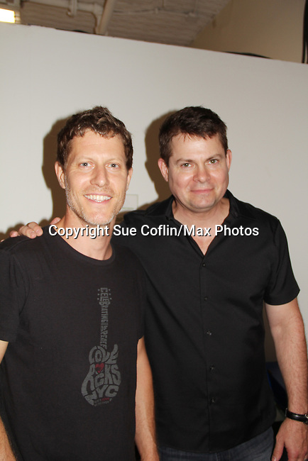 "As The World Turns' Eric Sheffer Stevens poses with Trent Dawson who wrote ""The F"" held a Benefit for the film on June 22, 2018 at the Freeman Studio, New York City, New York. (Photo by Sue Coflin/Max Photo)"