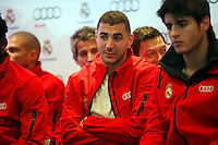 Real Madrid player Karim Benzema participates and receives new Audi during the presentation of Real Madrid's new cars made by Audi at the Jarama racetrack on November 8, 2012 in Madrid, Spain.(ALTERPHOTOS/Harry S. Stamper) .<br />