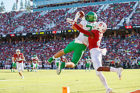 STANFORD, CA - SEPTEMBER 21: Jacob Breeland #27 of the Oregon Ducks makes a touchdown reception defended by Kendall Williamson #21 of the Stanford Cardinal during a game between University of Oregon and Stanford Football at Stanford Stadium on September 21, 2019 in Stanford, California.
