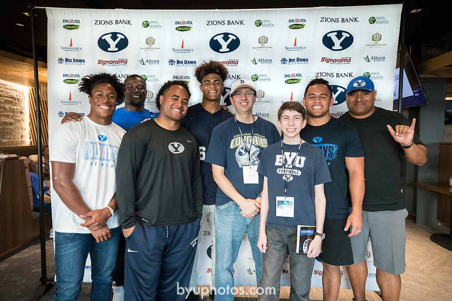 17FTB Big Blue Bash 278<br /> <br /> 17FTB Big Blue Bash<br /> <br /> BYU Football Big Blue Bash held at Rio Tinto Stadium with the Salt Lake City chapter of the Cougar Club.<br /> <br /> August 19, 2017<br /> <br /> Photo by Jaren Wilkey/BYU<br /> <br /> &copy; BYU PHOTO 2017<br /> All Rights Reserved<br /> photo@byu.edu  (801)422-7322